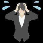 頭を抱えて困っている女性会社員のイラスト